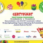 certyfikat przedszkole Przewłoka
